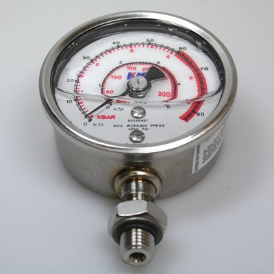 Pressure Gauge, 0-5555 psi, .25 O Ring