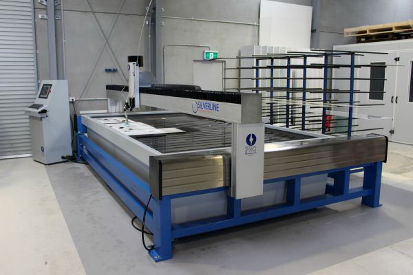 Silverline Glazier Water Jet Cutter installed in Glass Shop NSW