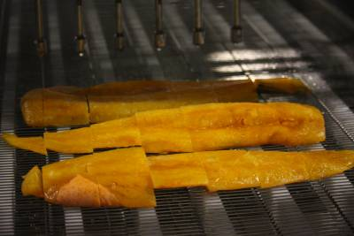 Waterjet cut frozen cod